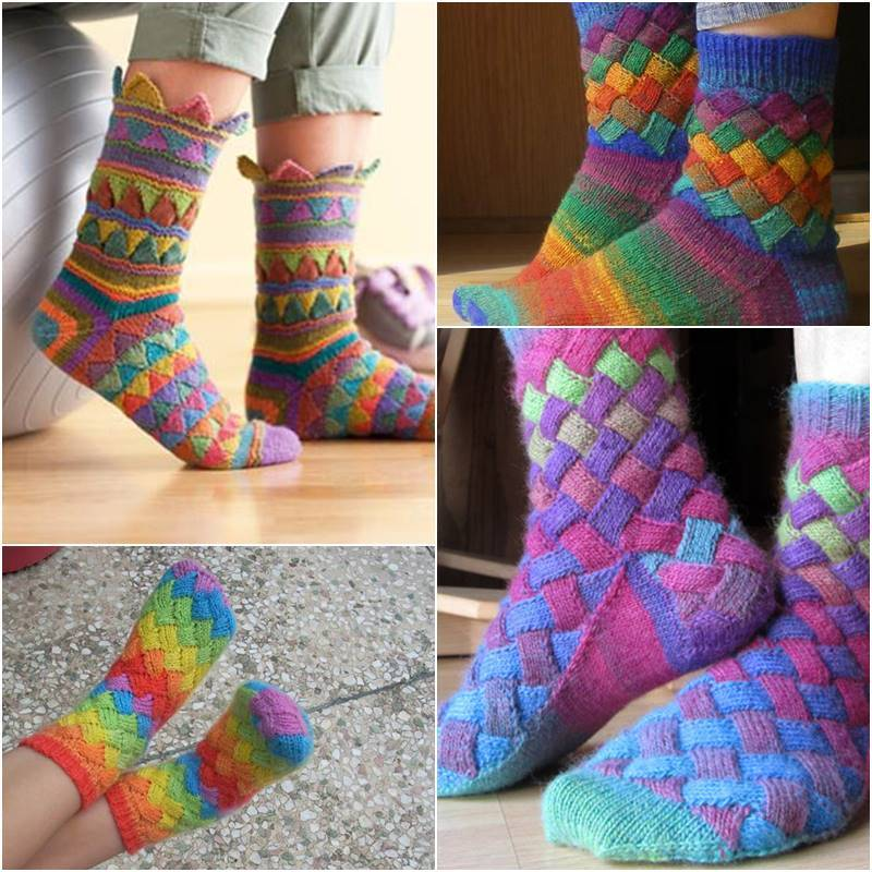 Knitting Socks Design : Diy rainbow color patch entrelac knitting socks with patterns