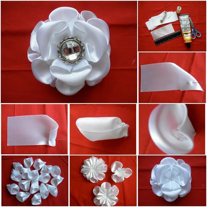 Diy white silk ribbon kanzashi rose mightylinksfo