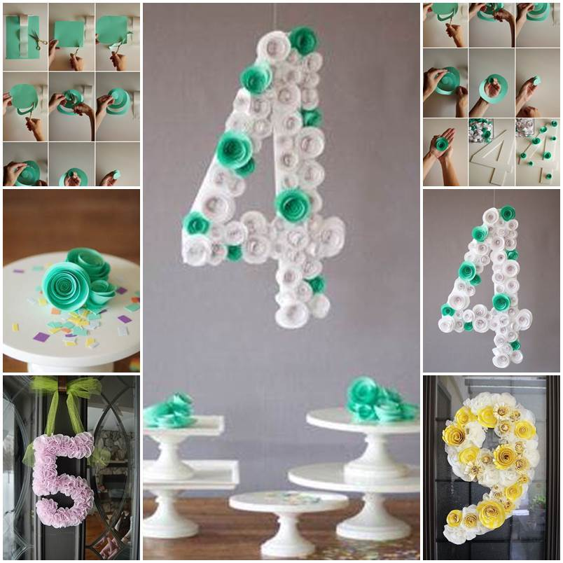 Diy spiral flower number party decoration for Number 1 decorations