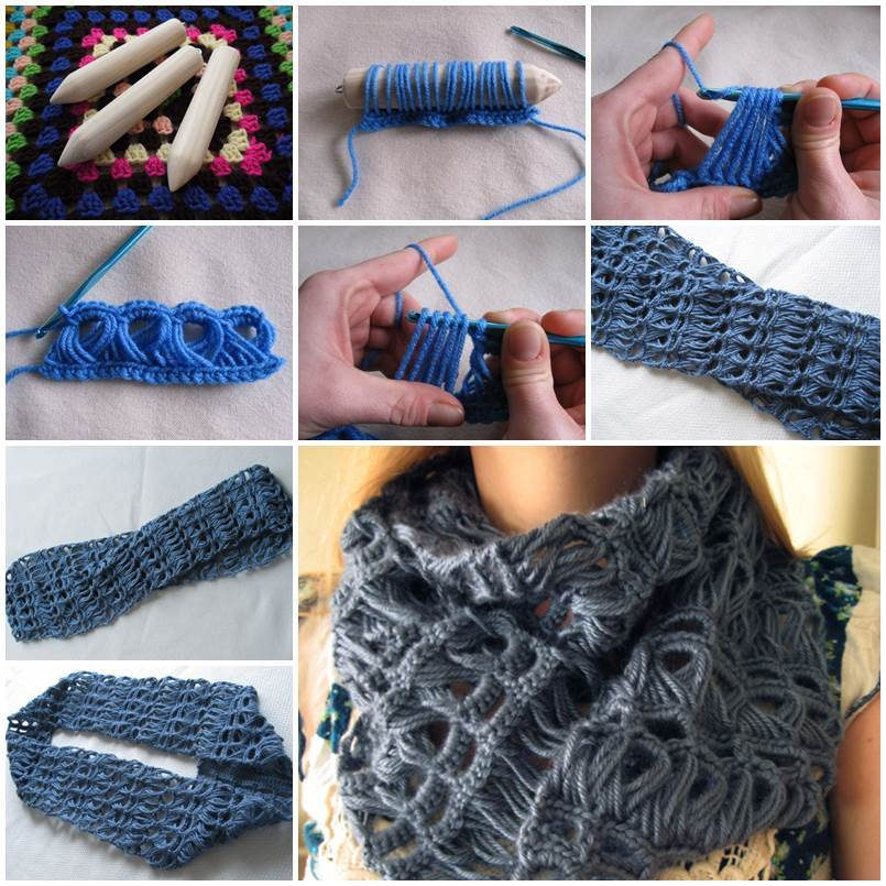 Diy Stylish Broomstick Lace Crochet Scarf
