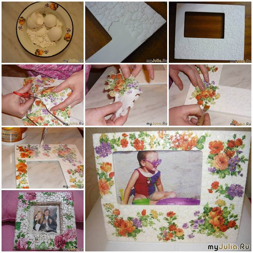 Diy vintage style eggshell mosaic picture frame for Vintage picture frame ideas