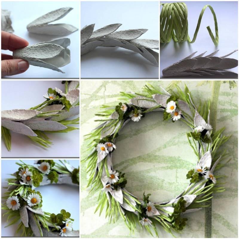 Egg Carton Craft - Easter Wreath