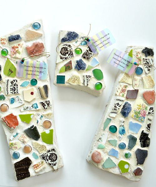 30 Beautiful DIY Stepping Stone Ideas to Decorate Your Garden --> DIY Mosaic Stepping Stones Made with Flagstone
