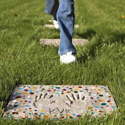 30 Beautiful DIY Stepping Stone Ideas to Decorate Your Garden --> Walk of Fame Stone