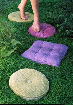 30 Beautiful DIY Stepping Stone Ideas to Decorate Your Garden --> Whimsical Faux Pillow Stepping Stones