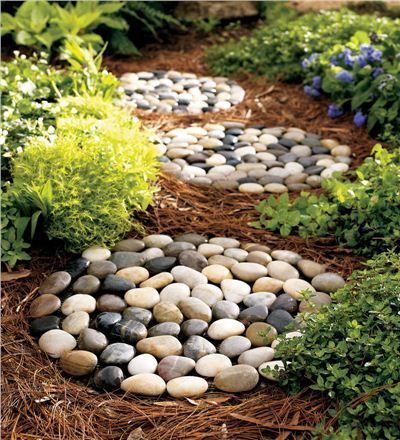 30 Beautiful DIY Stepping Stone Ideas to Decorate Your Garden --> River Rock Stepping Stones