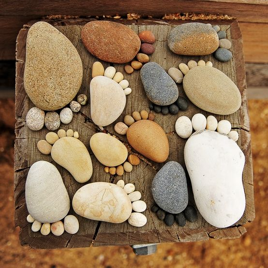 30 Beautiful DIY Stepping Stone Ideas to Decorate Your Garden --> Rocks of Feet Stepping Stones