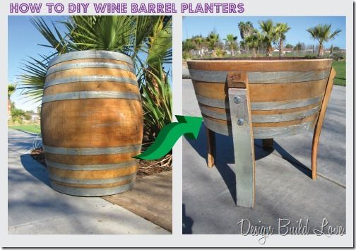 36+ Creative DIY Ideas to Upcycle Old Wine Barrels --> DIY Custom Wine Barrel Planter