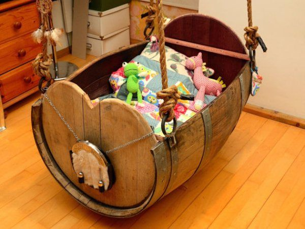 36+ Creative DIY Ideas to Upcycle Old Wine Barrels --> Baby Cradle Made from Old Wine Barrel