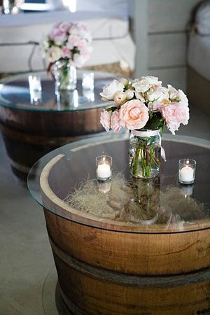 36+ Creative DIY Ideas to Upcycle Old Wine Barrels --> Tables from $30 Whiskey Barrels