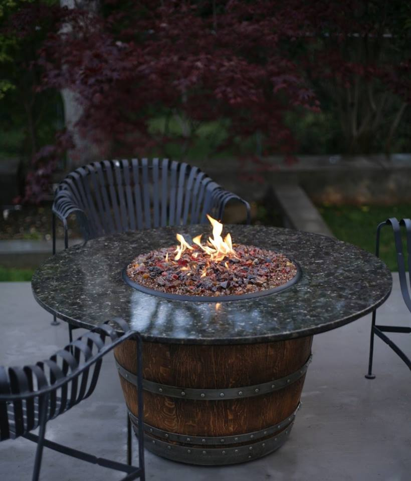 36+ Creative DIY Ideas to Upcycle Old Wine Barrels --> Propane Wine Barrel Fire Pit