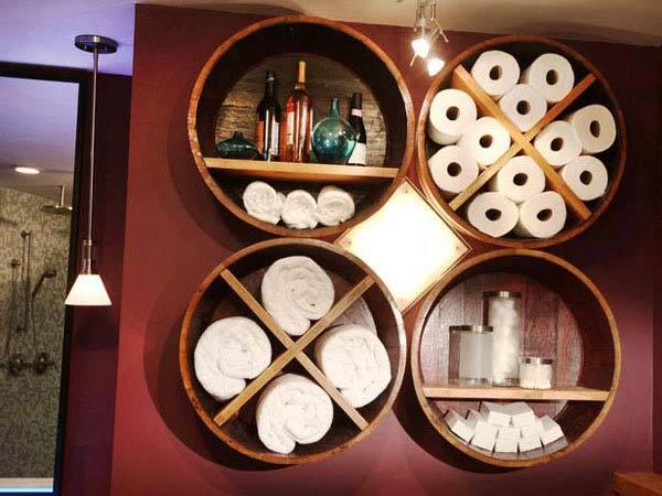 36+ Creative DIY Ideas to Upcycle Old Wine Barrels --> Wine Barrel Bathroom Storage