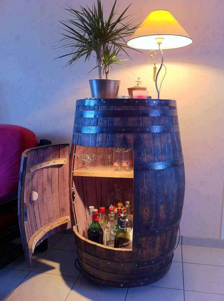 36+ Creative DIY Ideas to Upcycle Old Wine Barrels --> DIY Wine Barrel Cabinet