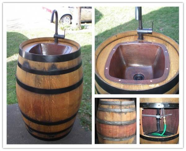 36+ Creative DIY Ideas to Upcycle Old Wine Barrels --> Turn a Wine Barrel into an Outdoor Sink