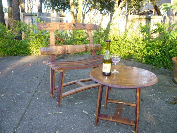 36+ Creative DIY Ideas to Upcycle Old Wine Barrels --> DIY Wine Barrel Garden Bench