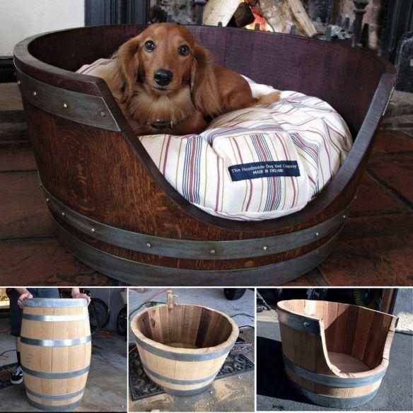 36+ Creative DIY Ideas to Upcycle Old Wine Barrels --> Wine Barrel Pet Bed