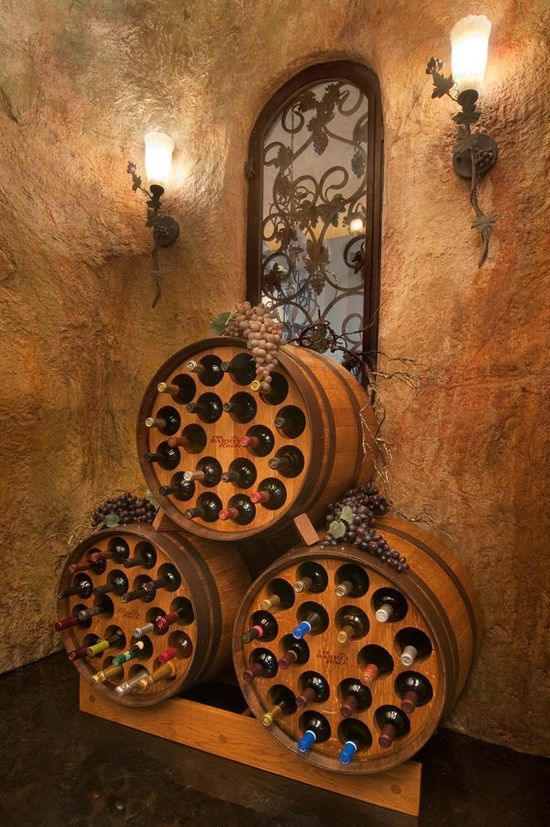36+ Creative DIY Ideas to Upcycle Old Wine Barrels --> Wine Barrel Wine Racks