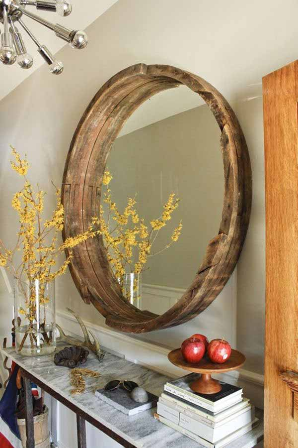 36+ Creative DIY Ideas to Upcycle Old Wine Barrels --> Wine Barrel Mirror