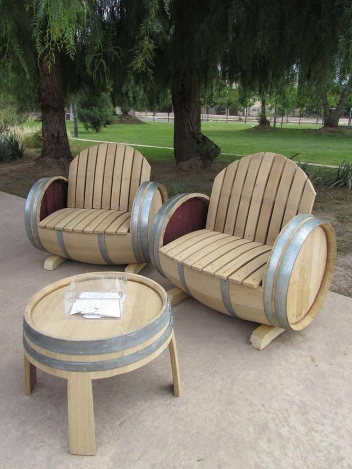 36+ Creative DIY Ideas to Upcycle Old Wine Barrels --> Wine Barrel Patio Furniture