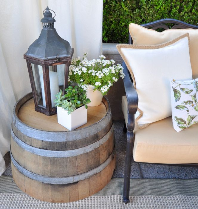36+ Creative DIY Ideas to Upcycle Old Wine Barrels --> DIY Wine Barrel Side Table