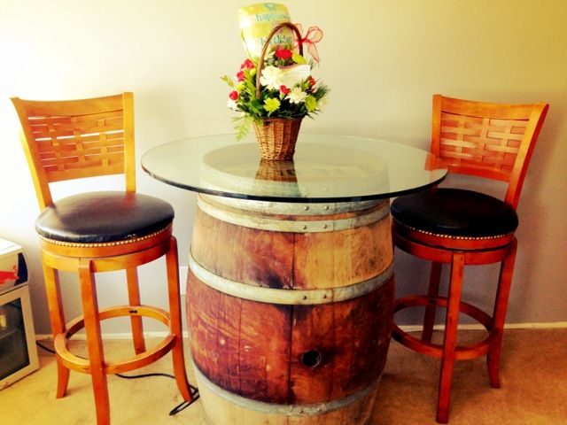 36+ Creative DIY Ideas to Upcycle Old Wine Barrels --> DIY Wine Barrel Table