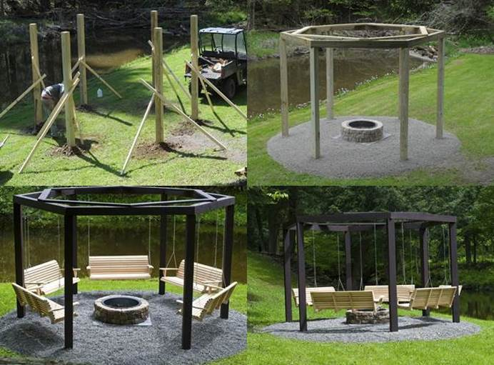 - DIY Backyard Fire Pit With Swing Seats