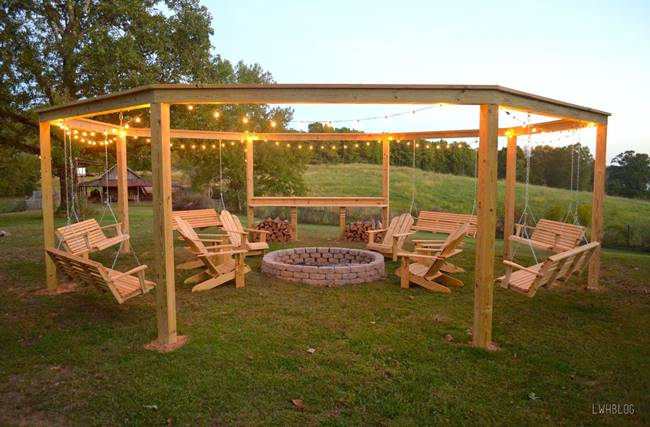 DIY Pergola and Fire Pit with Swings