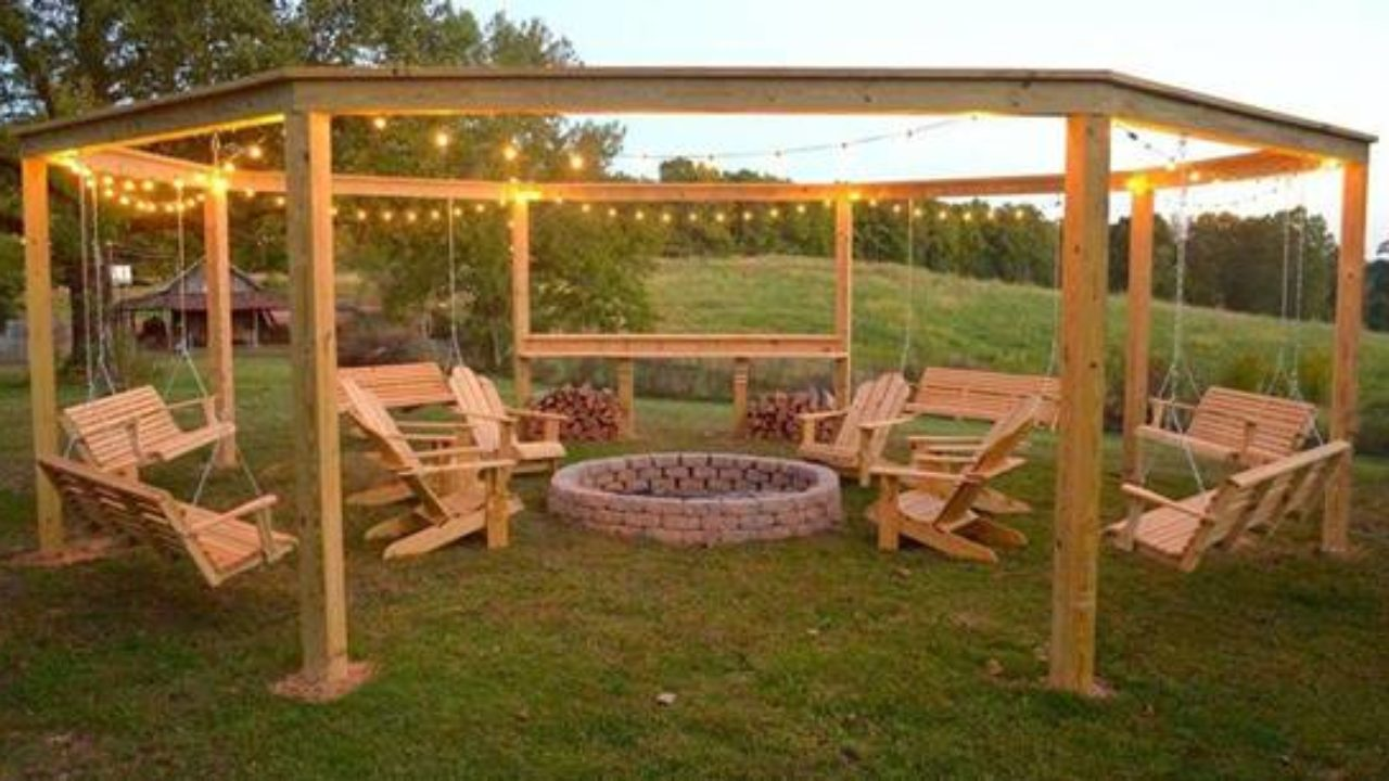 Picture of: Diy Backyard Fire Pit With Swing Seats