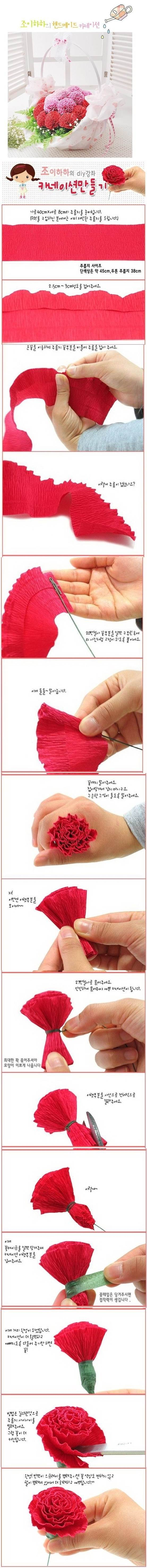 DIY Beautiful Crepe Paper Carnation 2