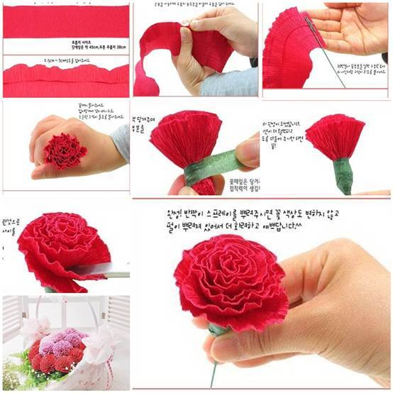 DIY Beautiful Crepe Paper Carnation 3