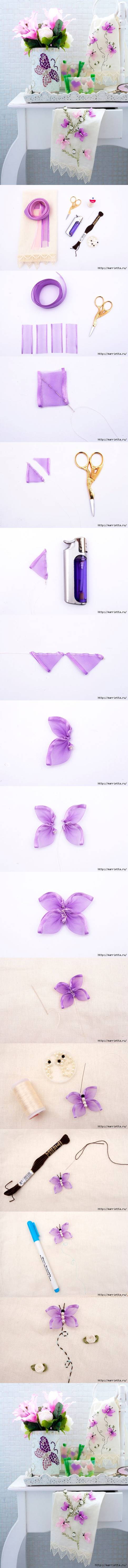 DIY Beautiful Embroidered Ribbon Butterfly 2