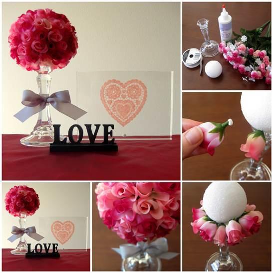 DIY Beautiful Flower Ball on Candlestick 3