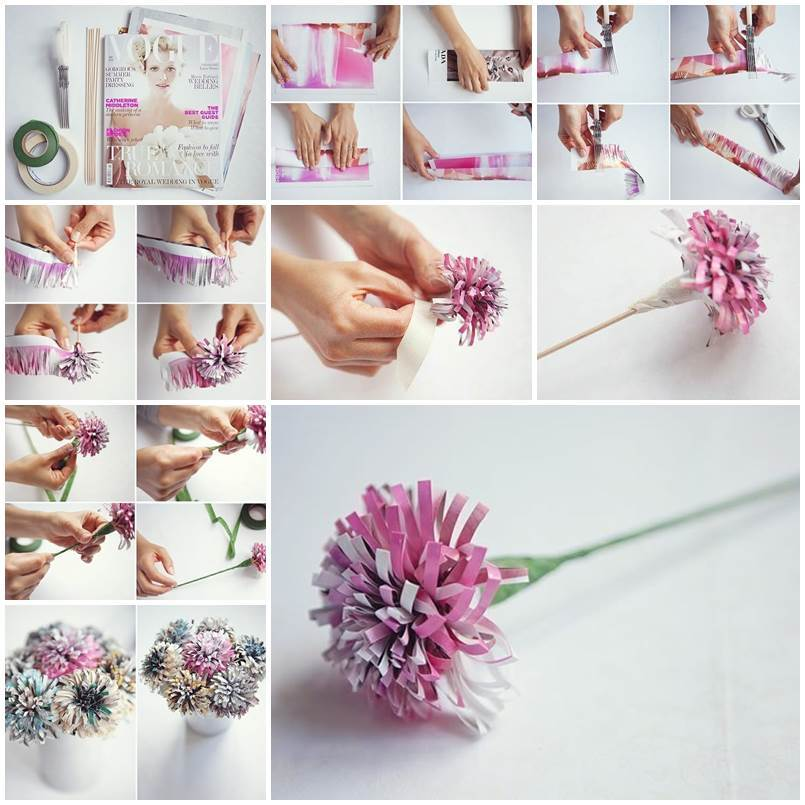 DIY Beautiful Flowers from Old Magazine