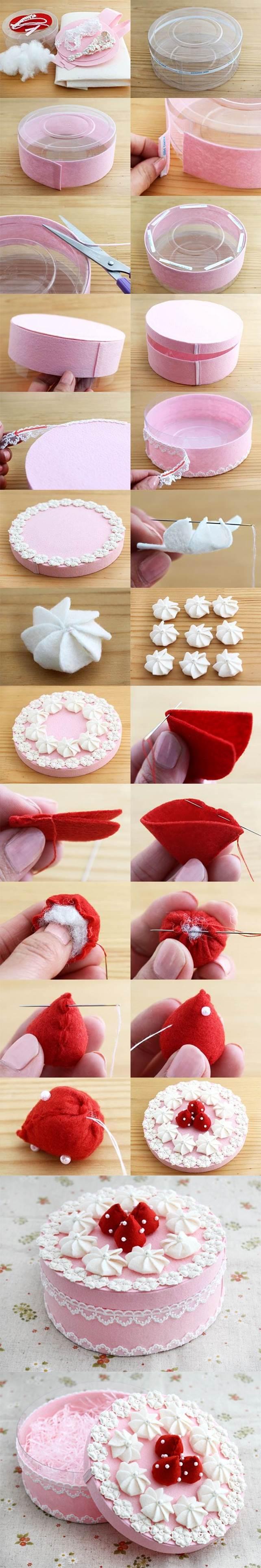 DIY Beautiful Gift Box Decorated Like a Cake 2