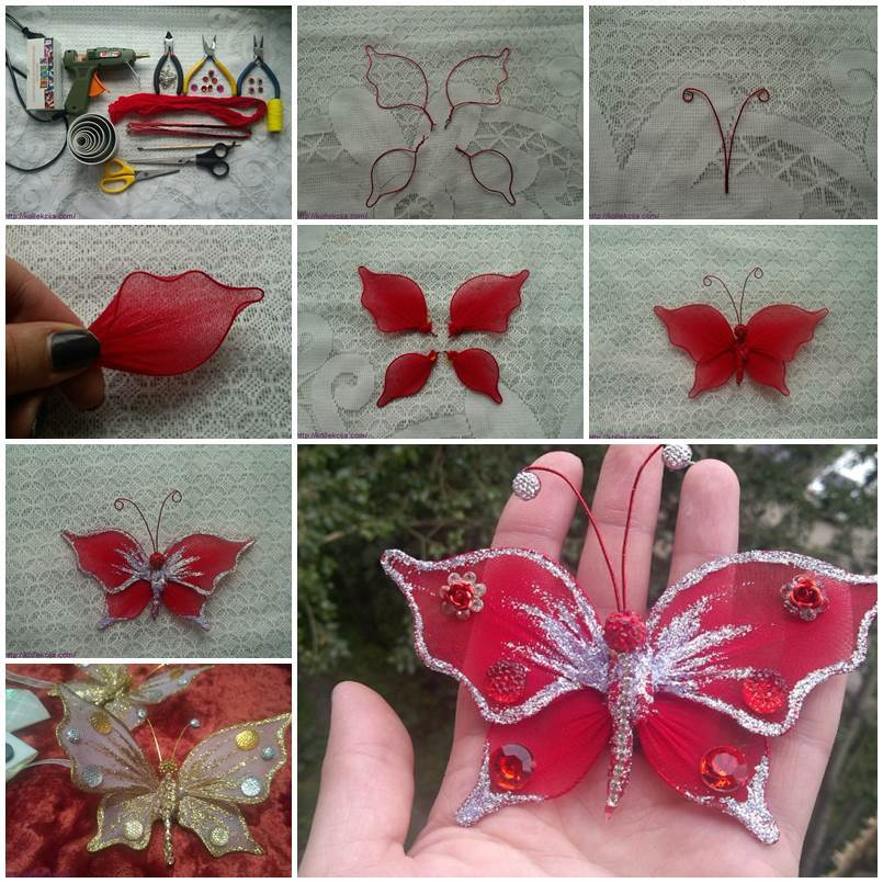 Diy beautiful nylon butterfly for Making butterfly decorations