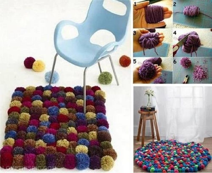 DIY Colorful Pom-Pom Rug 1