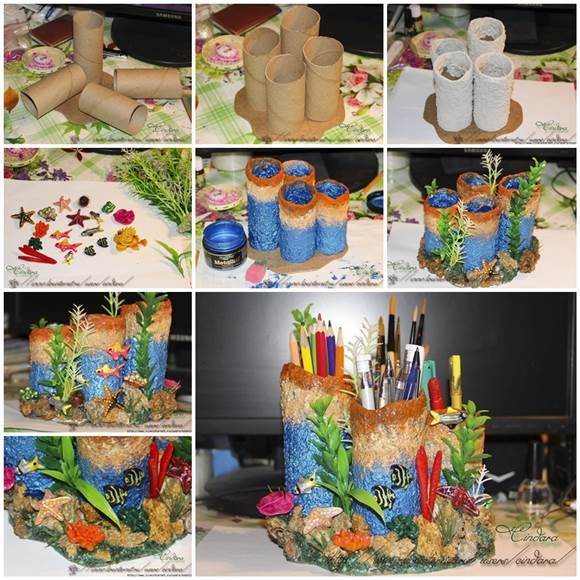 DIY Coral Reef Pencil Holder from Toilet Paper Rolls 3