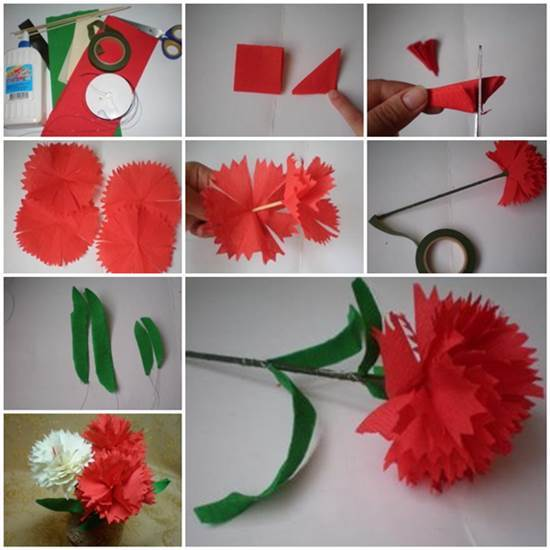 How to make paper flower carnations flowers healthy diy crepe paper carnation mightylinksfo