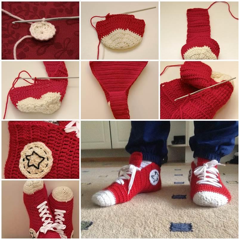 DIY Crochet Converse Sneaker Style Slippers