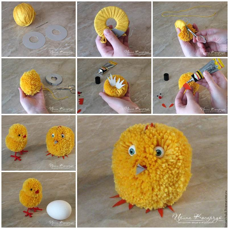 DIY Cute Pom-Pom Easter Chicks 2