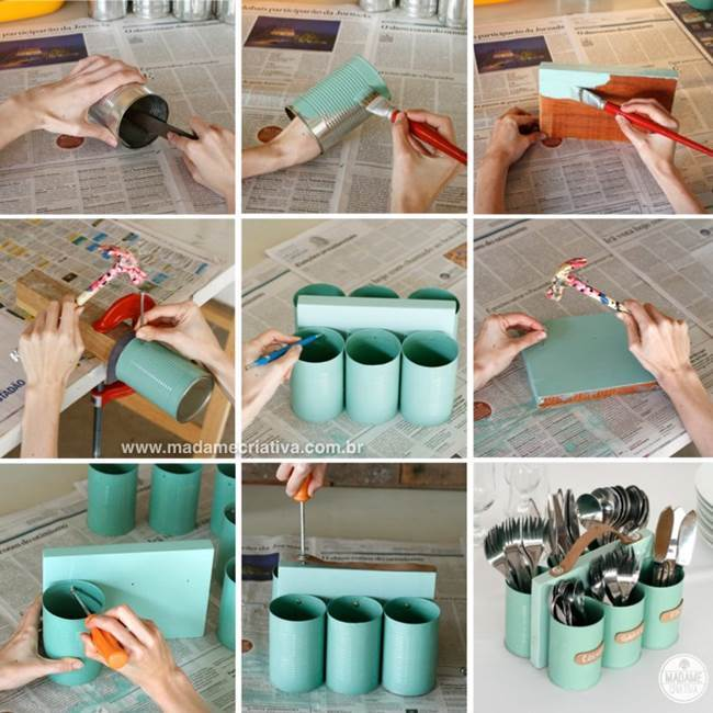 DIY Cutlery Holder from Tin Cans and Wood