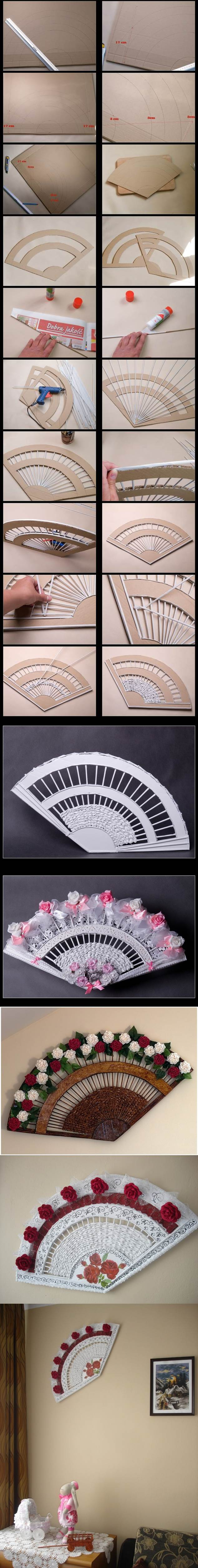 DIY Decorative Fan from Old Newspaper and Cardboard