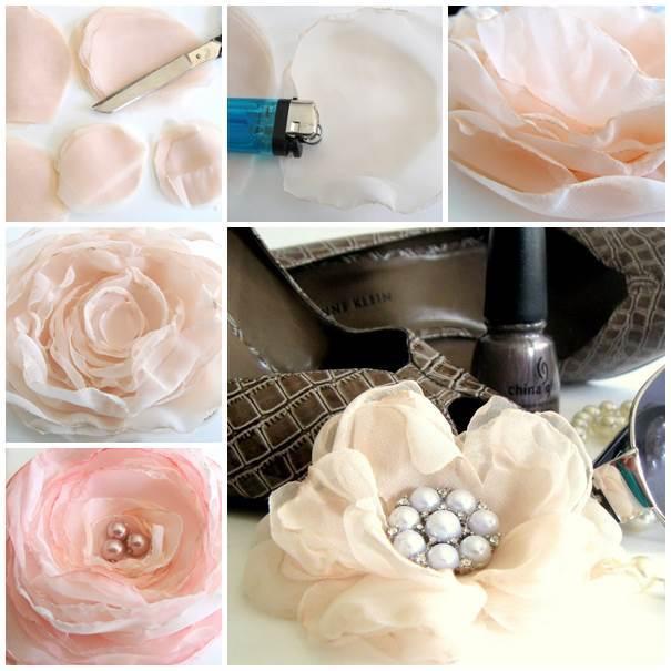 Diy delicate chiffon flower mightylinksfo Images