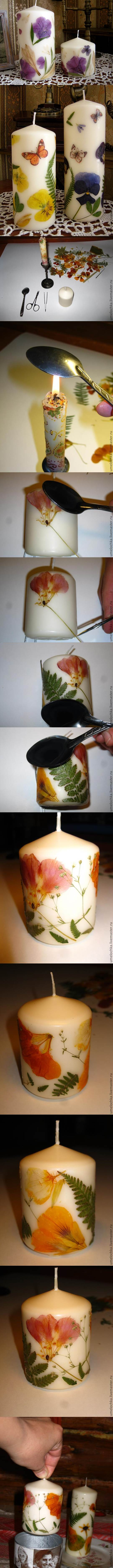 DIY Dried Flowers Decorated Candles 2