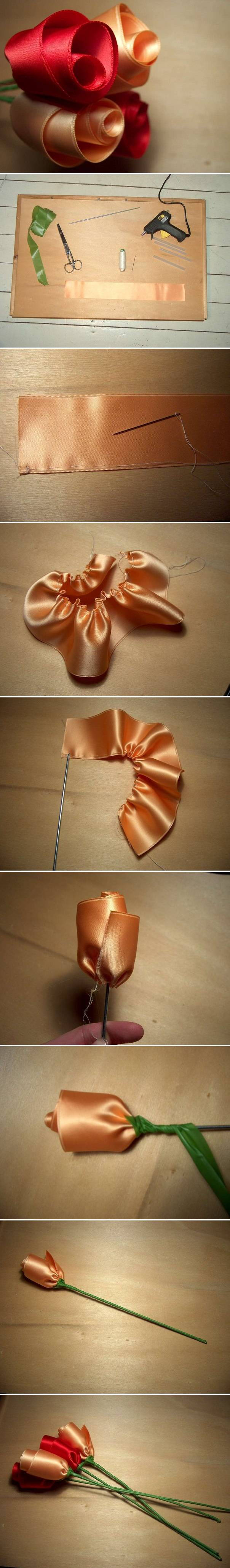 DIY Easy Satin Ribbon Roses 2