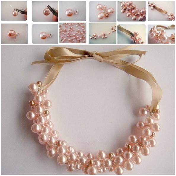 DIY Elegant Pearl Cluster Necklace