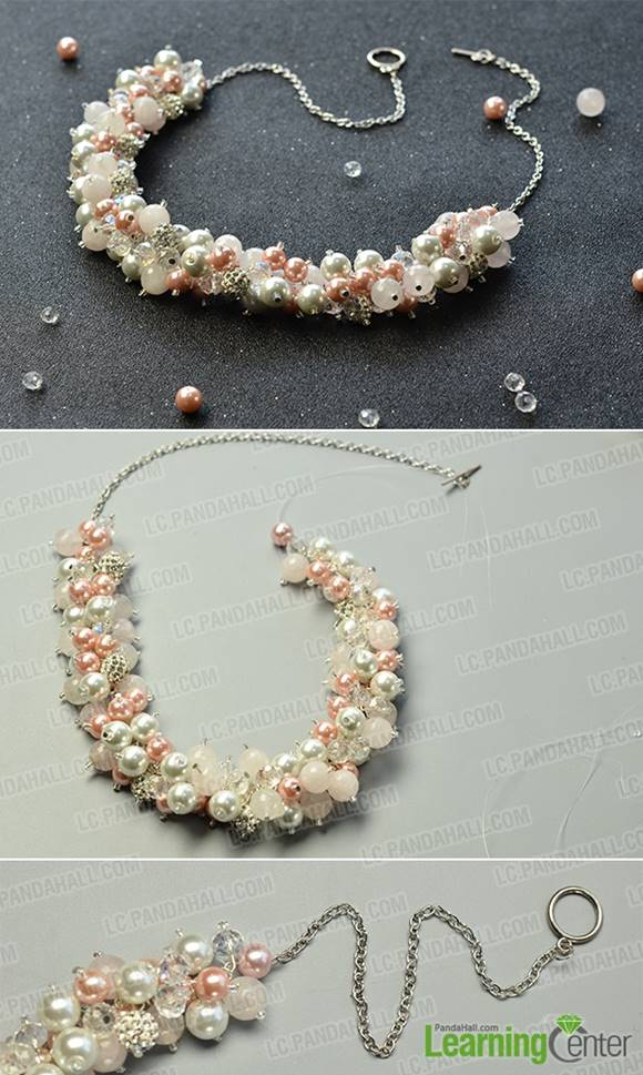 How to Make a Pearl Bridal Cluster Necklace