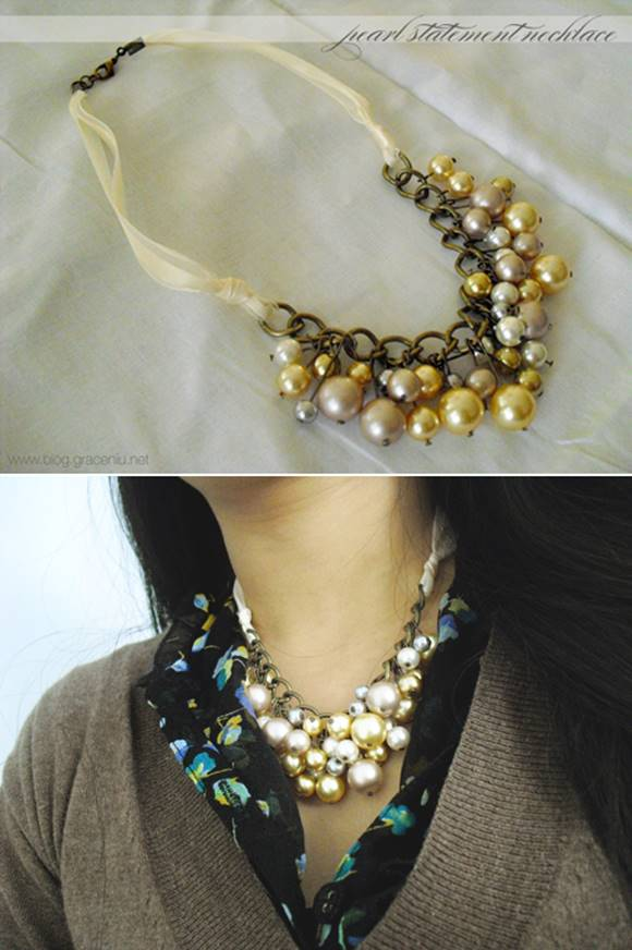 Pearl Statement Necklace Tutorial