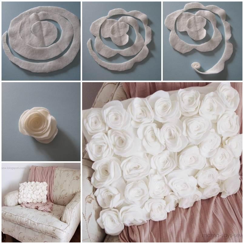 Diy Fleece Rose Pillow Cover
