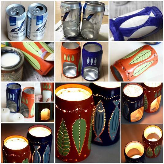DIY Flickering Candle Holders from Beer Cans 3